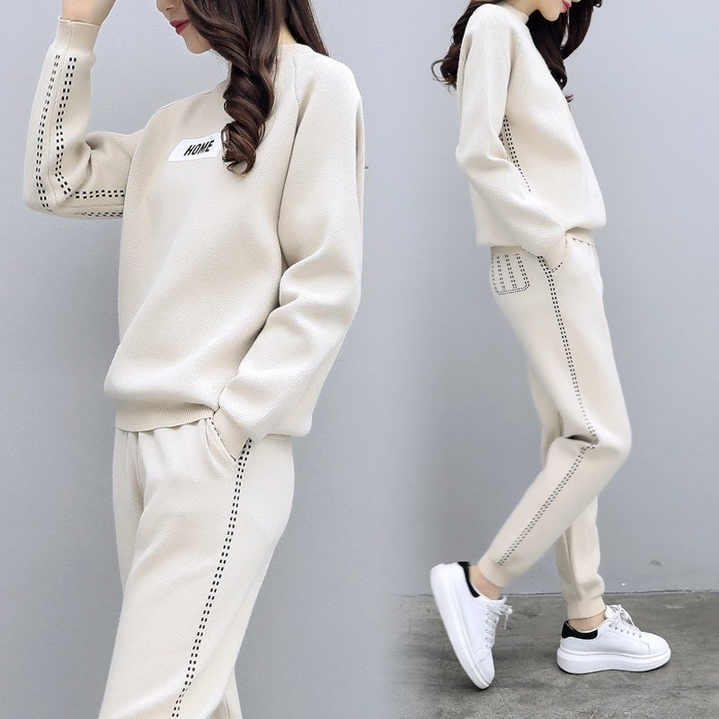 2020 Limited Full O-neck Elastic Waist New Two-piece Suit Fashion Casual Knit Female 2 Piece Outfits For Women Sweat Suits