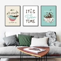 nordic home decoration art oster small fresh plant tea cup painting fashion canvas wall picures for kicthen coffee shop no frame