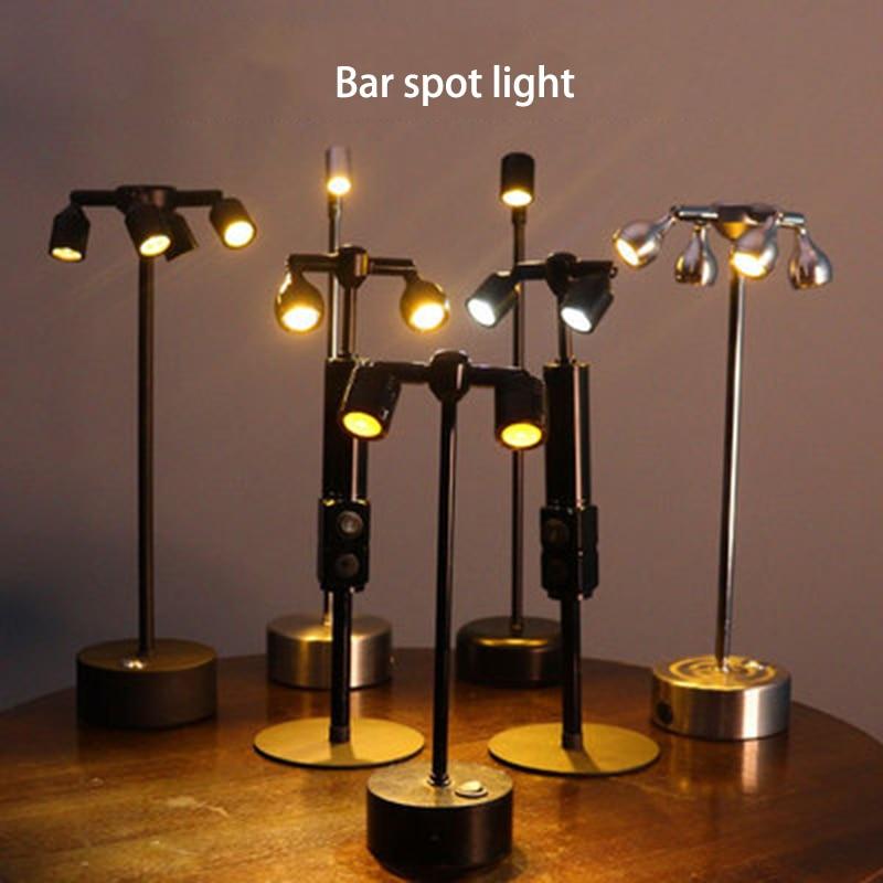 New 360° Rotatable LED Spot Light Bar Cafe Showcase Bedroom Table Lamp 1/2/4 Head Night Light Warm White Light