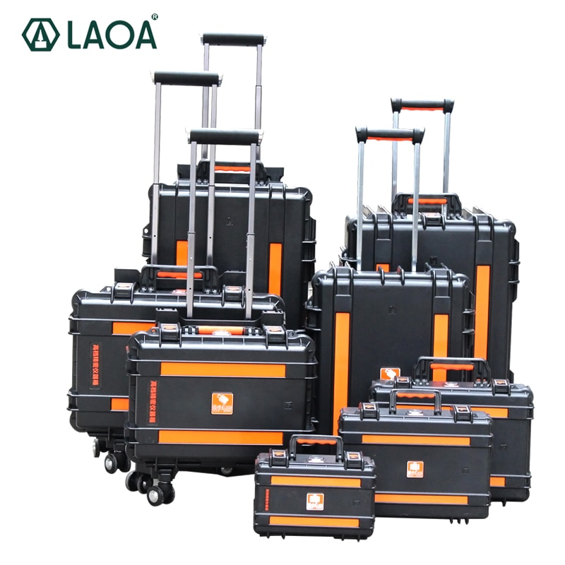 LAOA Strengthen Impacted Resistance and Water-Proof Portable Tool Box Instrument Trolley Fix Wheel Case