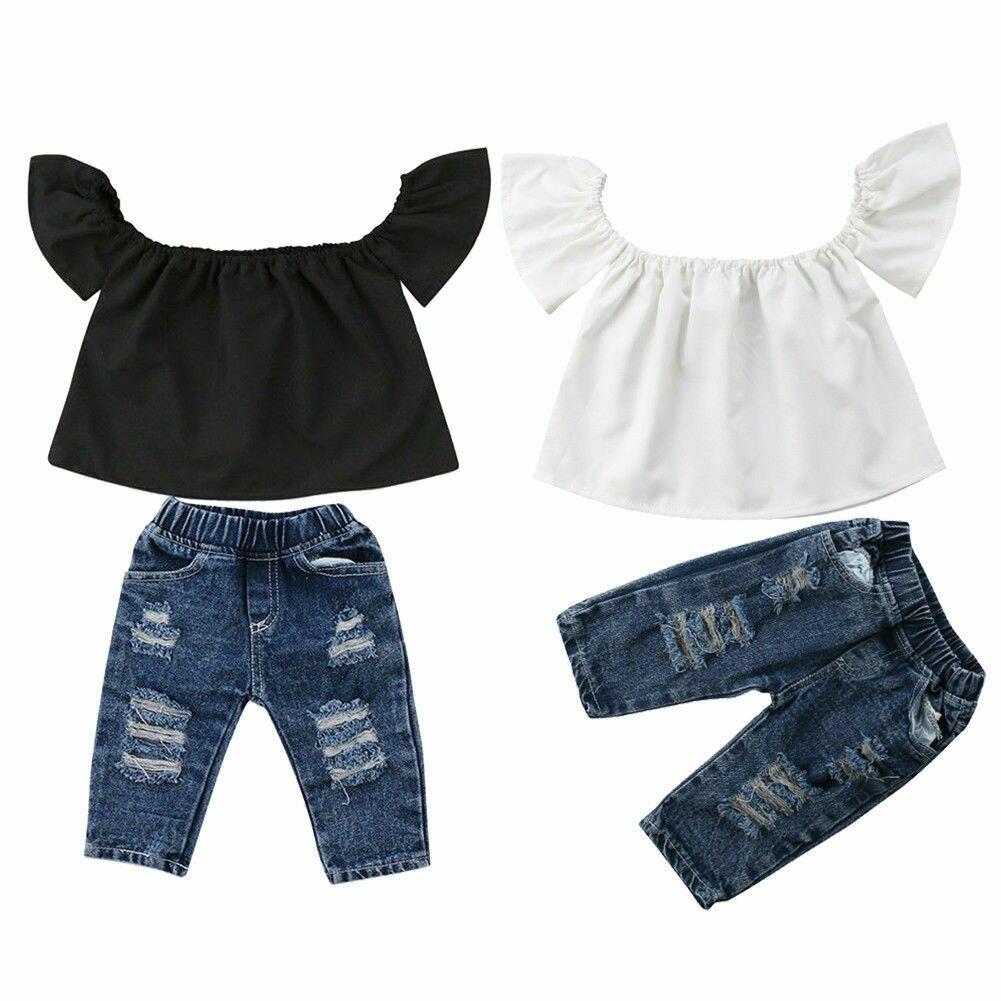 Crianças do bebê meninas 0-4y conjuntos de roupas da menina do verão 2 pçs streetwear fora do ombro t-shirts buracos rasgado calças jeans crianças outfits