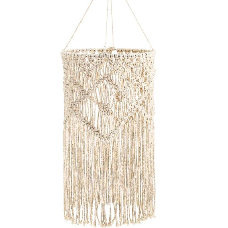 Lámpara de techo para salón, de tejido a mano, pantalla Bohemia con borlas, para dormitorio y baño, blanco cálido, envío directo