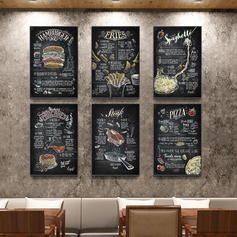 Esboço Cartaz Preto e Branco Restaurante Menu de Comida Hamburger Burger Shop картины на стену Pinturas Da Lona Pictures Prints