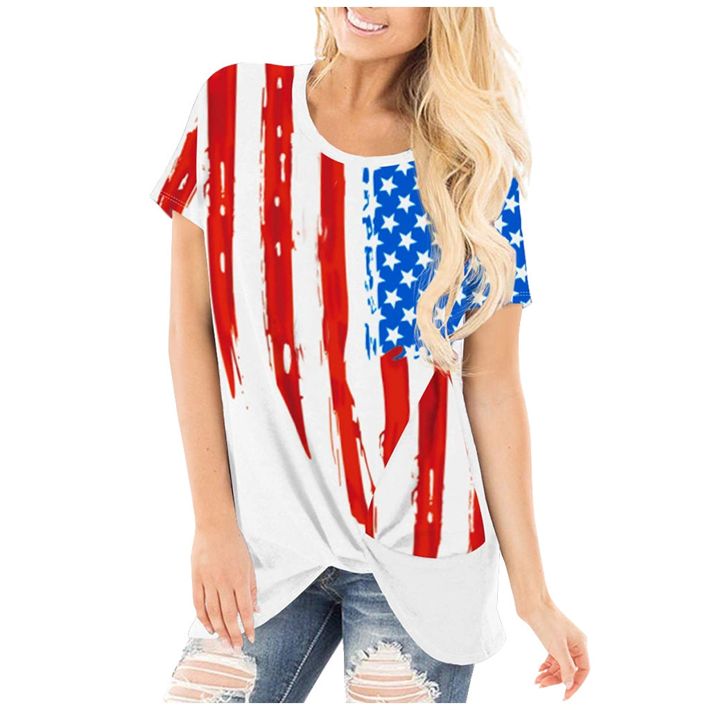 Camiseta KANCOOLD para mujer de talla grande pantalón corto Casual manga Amrican bandera impresa Tops con cuello en V camiseta mujeres tops 2020 verano May2