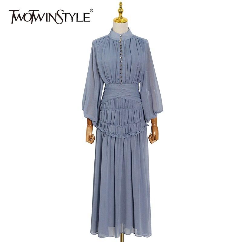 TWOTWINSTYLE عادية أضعاف مطوي فستان صيفي للنساء الوقوف طوق طويلة الأكمام عالية الخصر فساتين بقماش شفاف الإناث الملابس