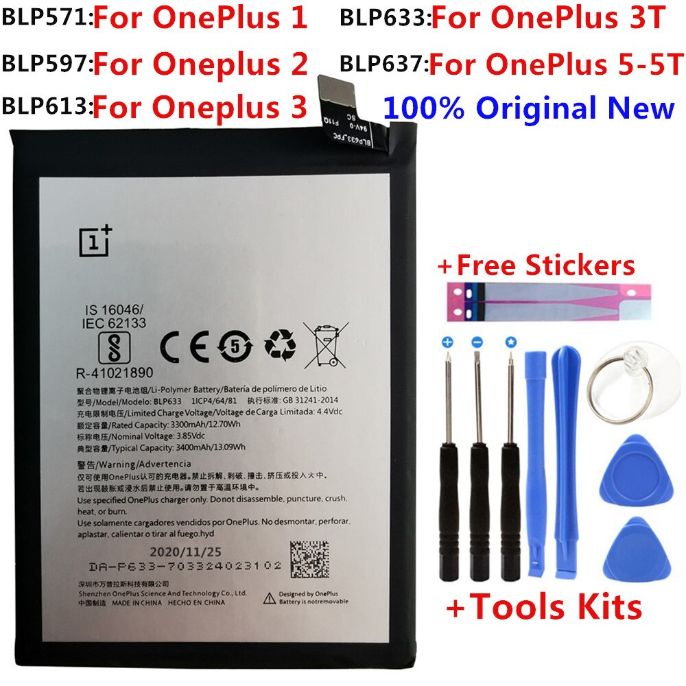 100% Original Replacement Battery For Oneplus one 1+ One plus For OnePlus 2 3 1+3 One Plus 3 3T  5 5T Quality Li-ion Batteries недорого
