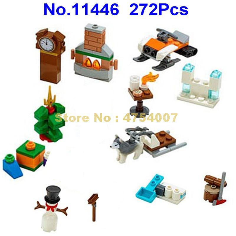 11446 272pcs city advent calendar building blocks christmas gift 7 figures  60235 Toy