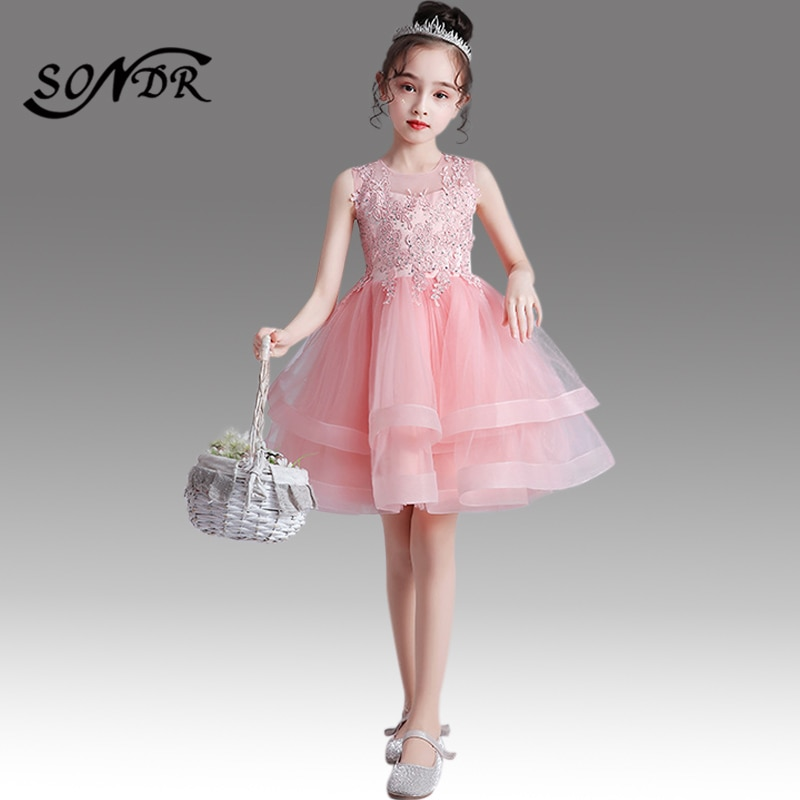 elegant flower girl dress for wedding kids sleeveless lace tulle pageant ball gowns long princess dresses girls party dresses Kids Princess Ball Gowns HT041 Elegant Crystal Lace Tulle Flower Gril Dress O-neck Sleeveless Pageant Dresses For Girls