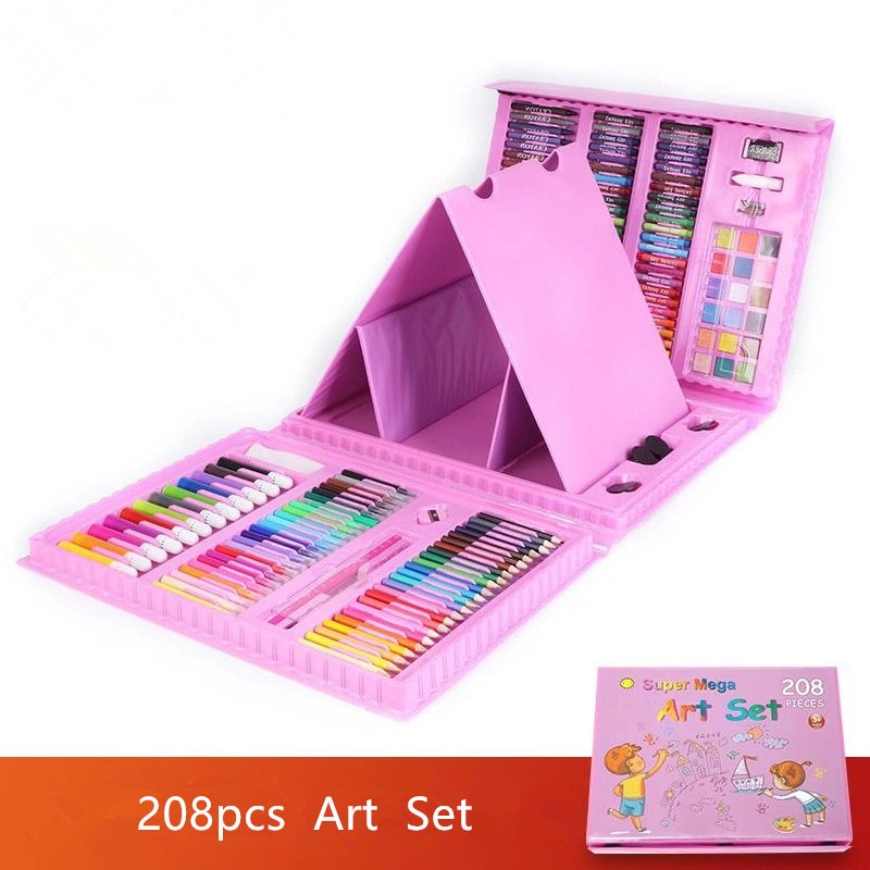 208Pcs/Set Blue Pink Painting Paint Tool Set Drawing Toys Watercolor Pen Children's Gifts Christmas New Year Birthday Toys