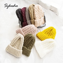 Female Autumn Winter Warm Twist Knitted Wool Cap Korean Student Recreational Ear Protector Cold Hat