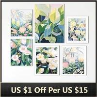 Toile de peinture murale avec fleurs et feuilles colorees  dessin anime abstrait  tableau artistique pour decoration de salon  decoration de maison