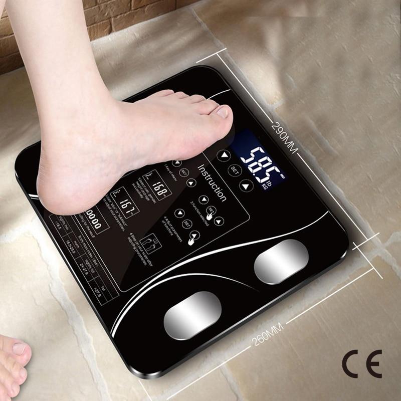 Certificación CE, carga USB, Sakura, báscula inteligente para el hogar, báscula de grasa pequeña, pantalla LED Digital con función inglesa, USB
