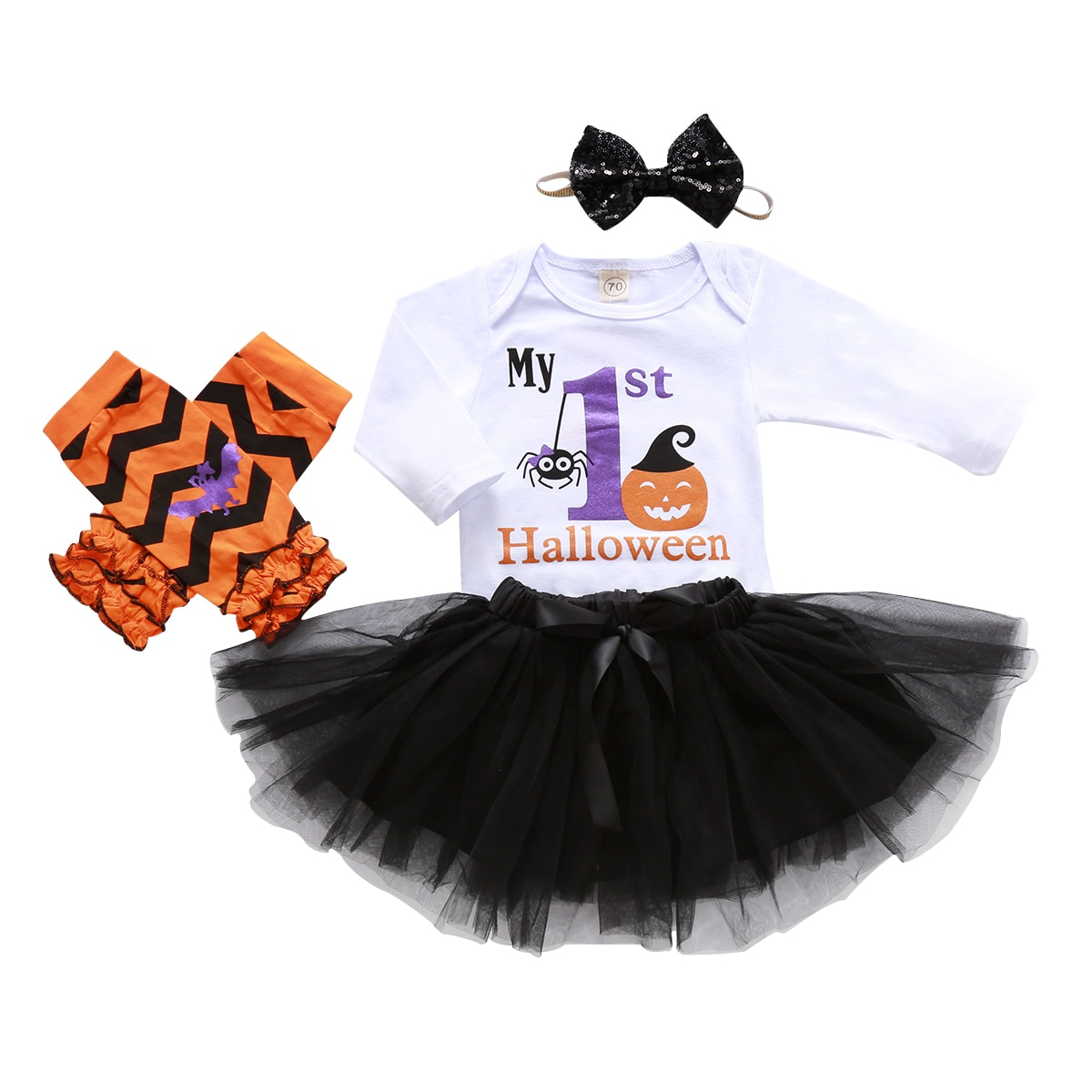 BY Baby Girl Clothes Halloween Party Clothing Pumpkin Printed Long Sleeve Top Mesh Skirt Headband Casual Newborn Suit Baby Gift