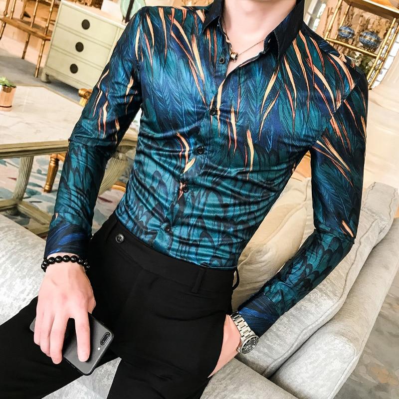 ¡Novedad de otoño! Camisa Floral de alta calidad para hombre, camisa de esmoquin de manga larga, ropa de calle para hombre, camisas informales ajustadas, ropa de fiesta, blusa para hombre
