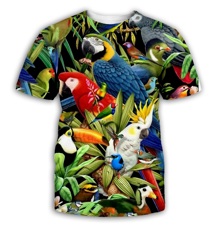 Parrot T Shirt Men Flower Tshirt Hip Hop Tee Animal Brid 3d Print T-shirt Women Clothing Casual Tops