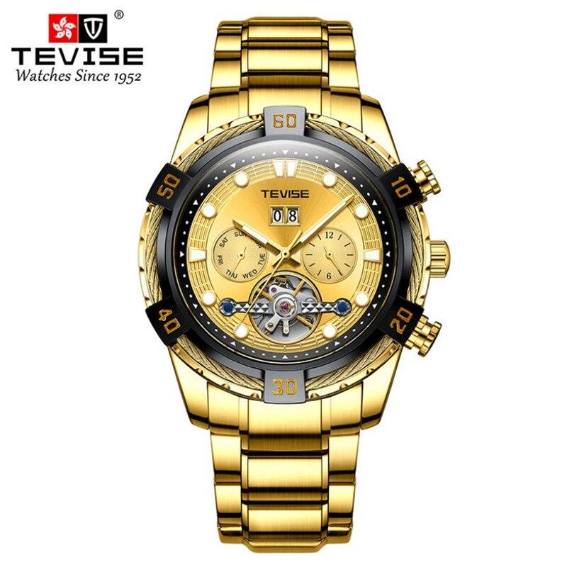 ساعة رجالية ميكانيكية أوتوماتيكية ، توربيون ، هيكل عظمي ، قرص كبير ، أعمال ، ساعة مجوفة من الفولاذ الذهبي ، 2020