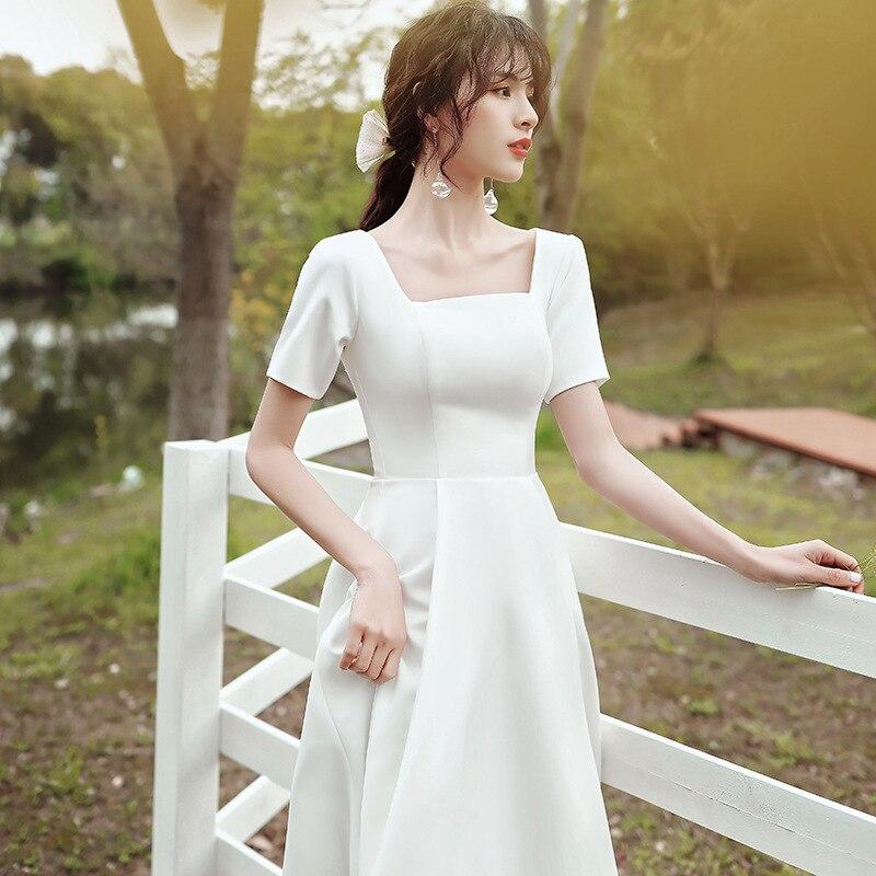 فستان سهرة ترابيز ، أكمام قصيرة ، ياقة قارب ، أنيق ، قابل للتخصيص ، مجموعة جديدة 2021