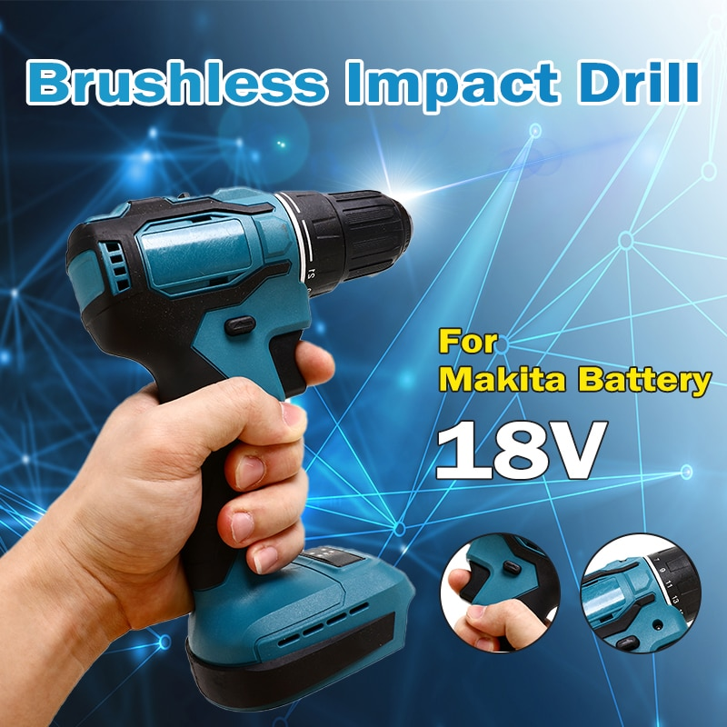 18V 90Nm Electric Cordless Drill Brushless Impact Drill Hammer Drill Screwdriver Rechargable For Makita Battery Power Tool 3 in 1 13mm brushless electric hammer drill electric screwdriver 20 3 torque cordless impact drill for makita 18v battery
