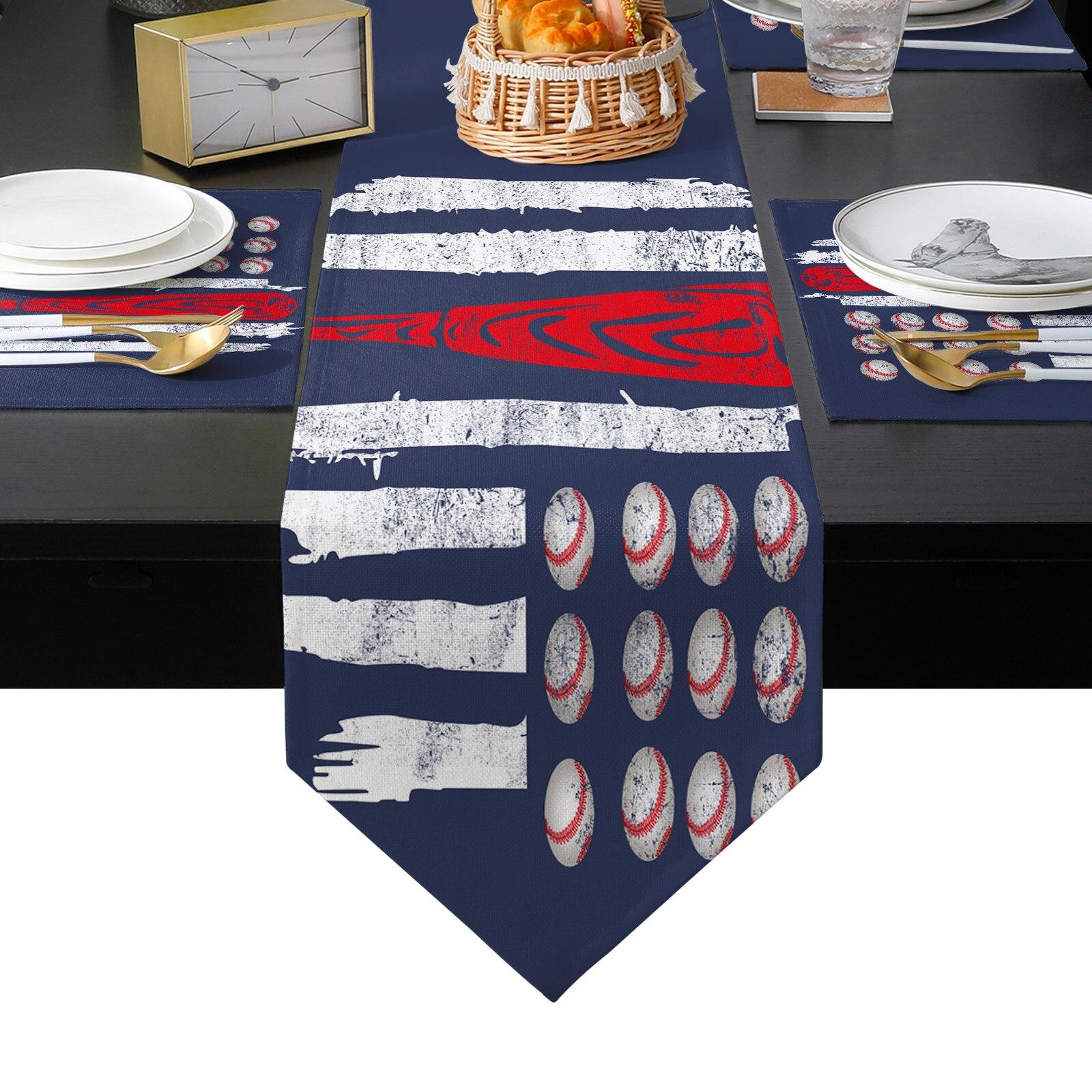 البيسبول العلم الأمريكي الجدول عداء الجدول الحصير غطاء للمنزل الزفاف مأدبة مهرجان حفلة التموين فندق الجدول الديكور