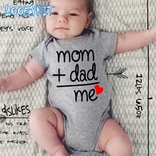 Summer Newborn Infant Baby Clothes Mom Plus Dad Equal Me Funny Cute Toddler Jumpsuits Bodysuits Outf