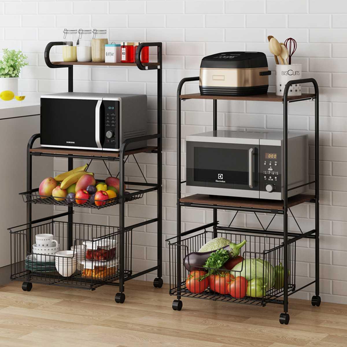 رف تخزين متعدد الطبقات مع عجلات ، 3 مستويات ، عربة مطبخ ، غرفة معيشة ، حمام