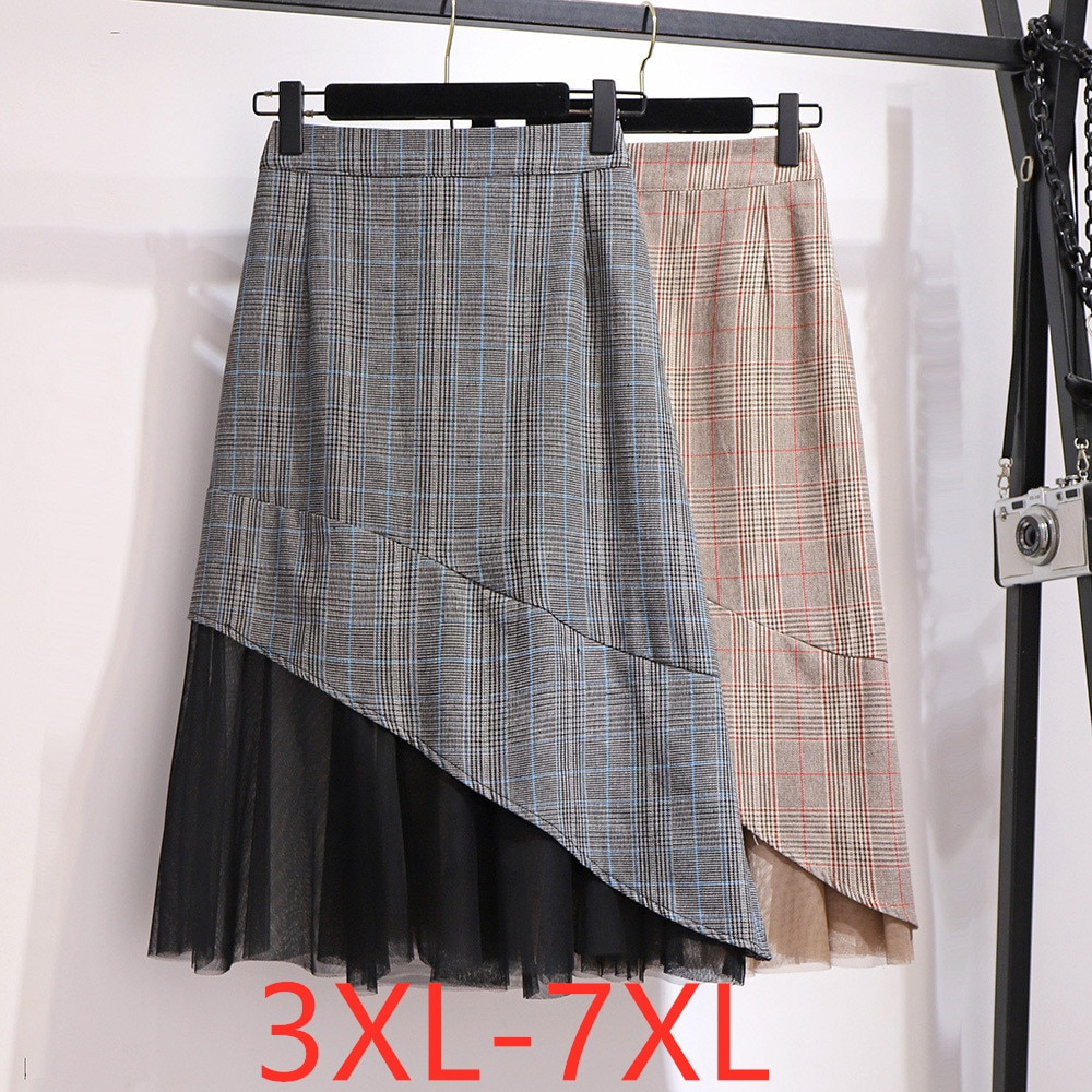 2020 spring summer plus size midi skirt for women large casual loose gauze plaid pleated skirts khaki black 3XL 4XL 5XL 6XL 7XL