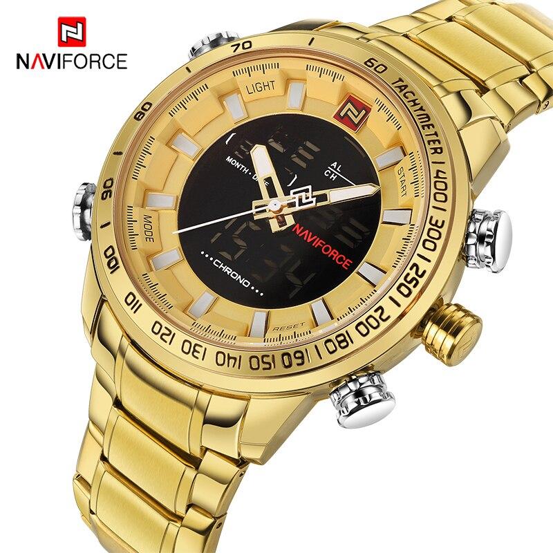 NAVIFORCE мужские часы золотые часы мужские s цифровой светодиодный спортивные наручные часы Мужские кварцевые двойной дисплей водонепроницае...