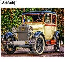 Paysage de voiture classique 5d   Autocollant de voiture en broderie de diamant classique, carré et rond, mosaïque de résine 3d, artisanat