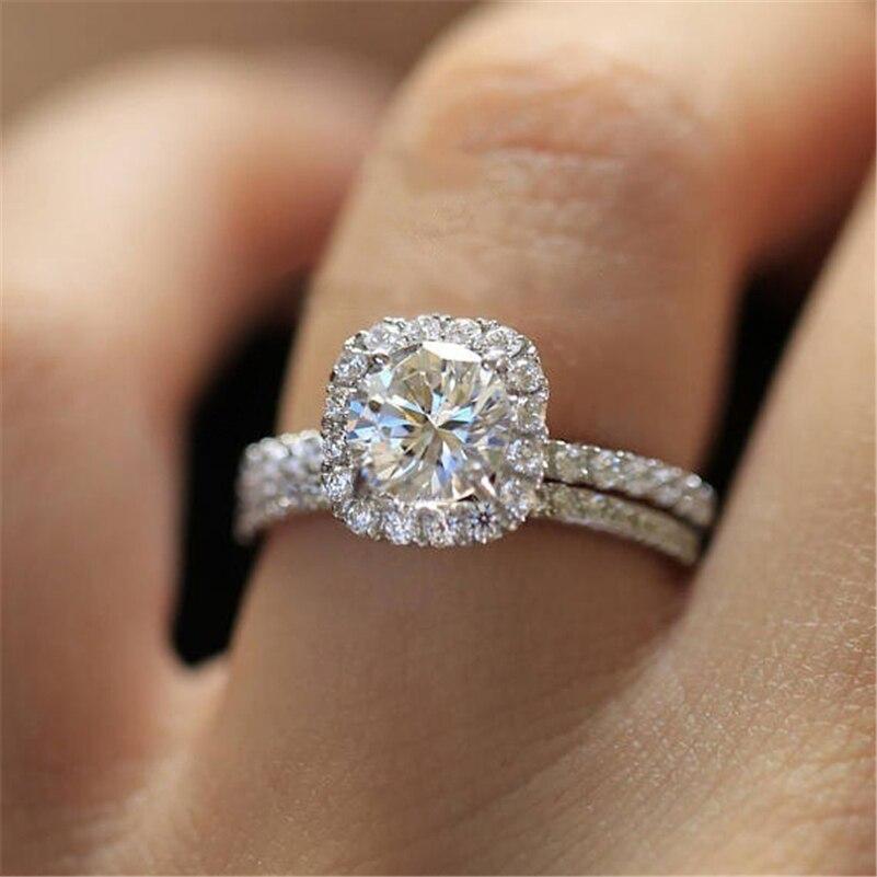 925 Sterling Silver Diamond Ring set for Women Pure 2 carats diamond Gemstone Silver 925 Jewelry Gemstone bague diamond ring