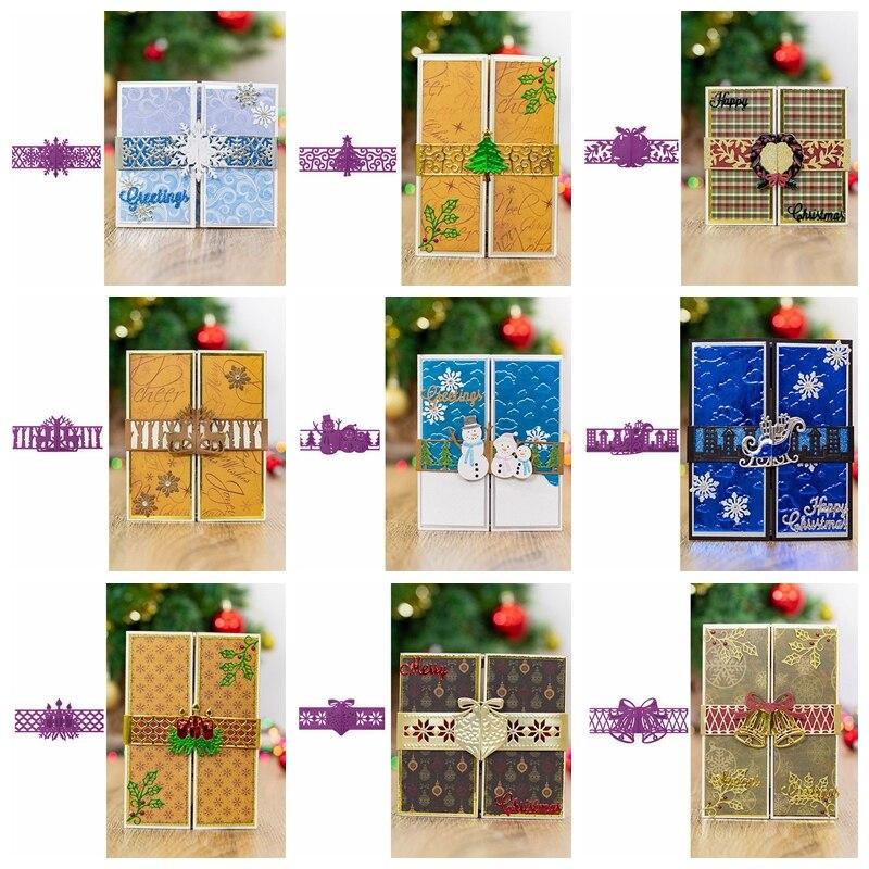 Рождество обертывание высечки закрытые карты металла резки штампы DIY бумажные карточки для скрапбукинга тиснение ручной работы трафареты ...