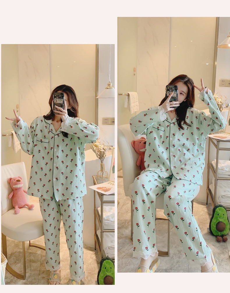 Fdfklak Spring Autumn Maternity Clothes For Nursing Mothers Nursing Pajama Pink/White Floral Print Nursing Clothes Sleepwear enlarge