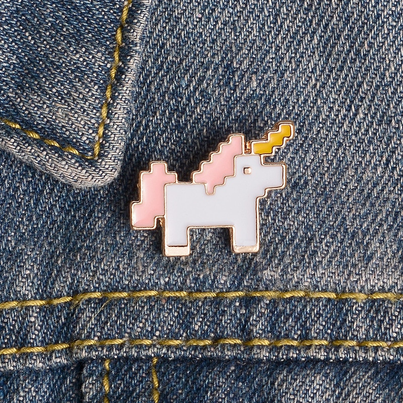XEDZ color wings unicorn cute angel horse elk sheep stars spots mosaic running animal badge punk lapel pin children jewelry gift  - buy with discount
