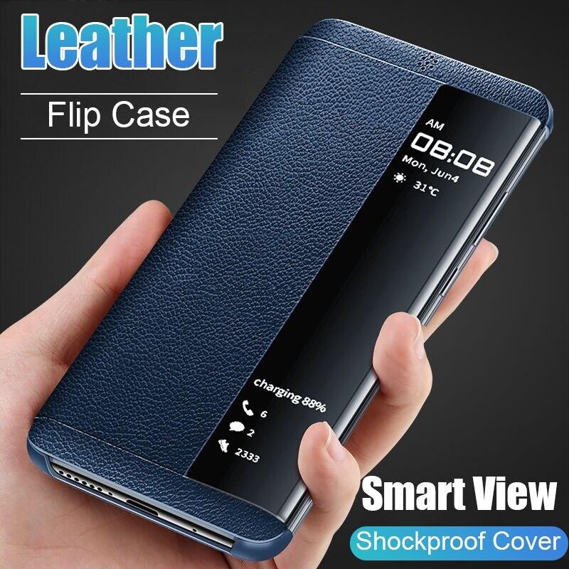 Кожаный флип-чехол для телефона Samsung Galaxy S7 Edge S8 S9 S10 Plus NOTE 10 Plus 9 8 мобильный чехол со светодиодным умным окном для просмотра