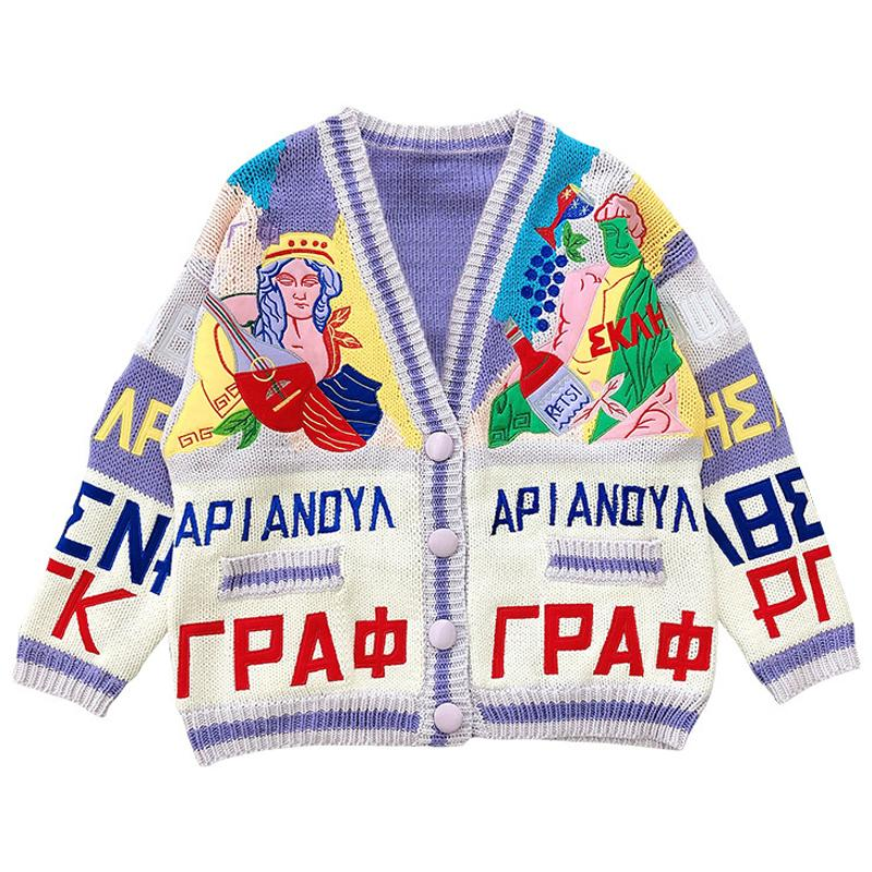 Vintage Graffiti Embroidery Cardigan Knit Sweater Men 2021 Spring Harajuku Knitted Sweater Hip Hop Retro Streetwear Casual Unsex