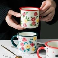 nordic retro mug simple creative flower pattern imitation enamel milk juice cup household drinkware office coffee cup