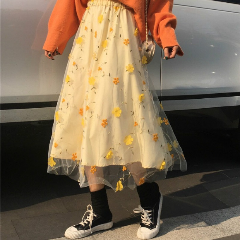 Women Spring Summer Mesh Skirts Fashion Sweet Style High Waist Elaticity Floral Embroidery Mid-calf Elegant Saia for Student