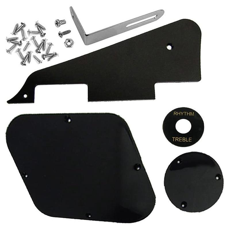 1Set Black Pickguard Cavity Switch Covers Pickup Selector Plate Bracket Screws Fit Les Paul Guitar Style Kit
