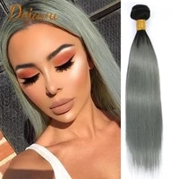 straight hair ombre 1bgrey color wigs human hair bundles silver grey color hair bundles pre plucked remy wig 134pc extension