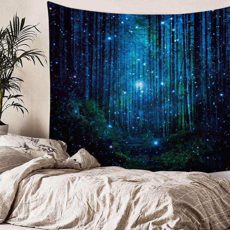 Tapiz de pared natural con árbol, bosque, cielo estrellado, alfombra psicodélica, tapiz de tela para pared, tapiz Hippie, paisaje de árbol, estera de playa