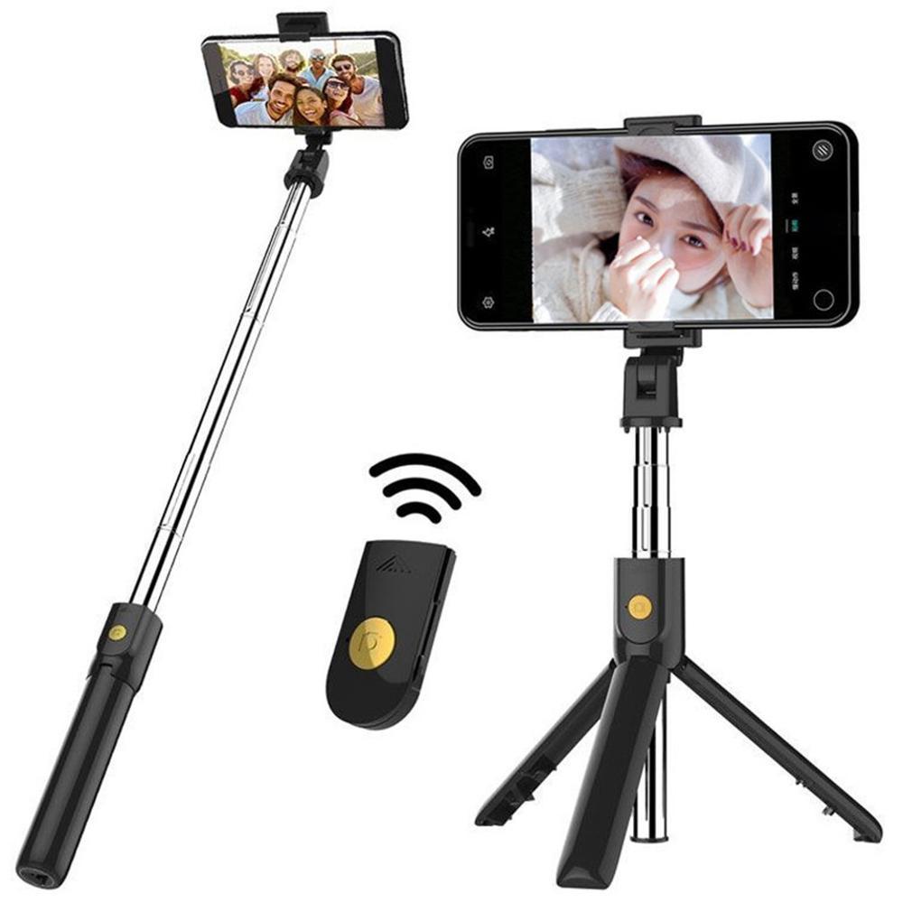 2 en 1 inalámbrico Mini extensible Monopod Universal Selfie Stick trípode integrado multifunción soporte de transmisión en directo
