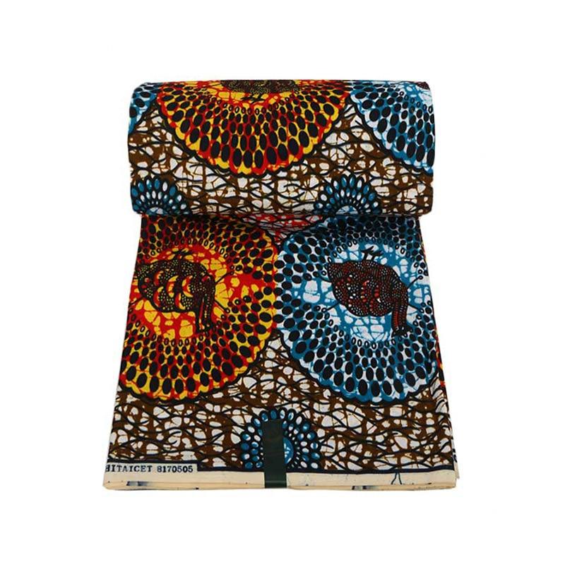 2019 Real Wax Blue & Orange Print Fabric African Fabric Veritable Ankara Pagne Wax