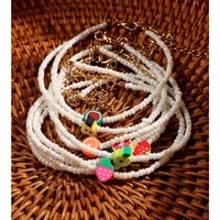 trendy cute white seed beads anklets bracelet for women girl acrylic fruit string bead ankle chain leg summer beach foot jewelry