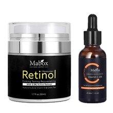 MABOX 2.5% Retinol Bleaching gesicht creme + Vitamin C Serum Anti aging Anti-falten Feuchtigkeits Creme Serum Hautpflege DropShip