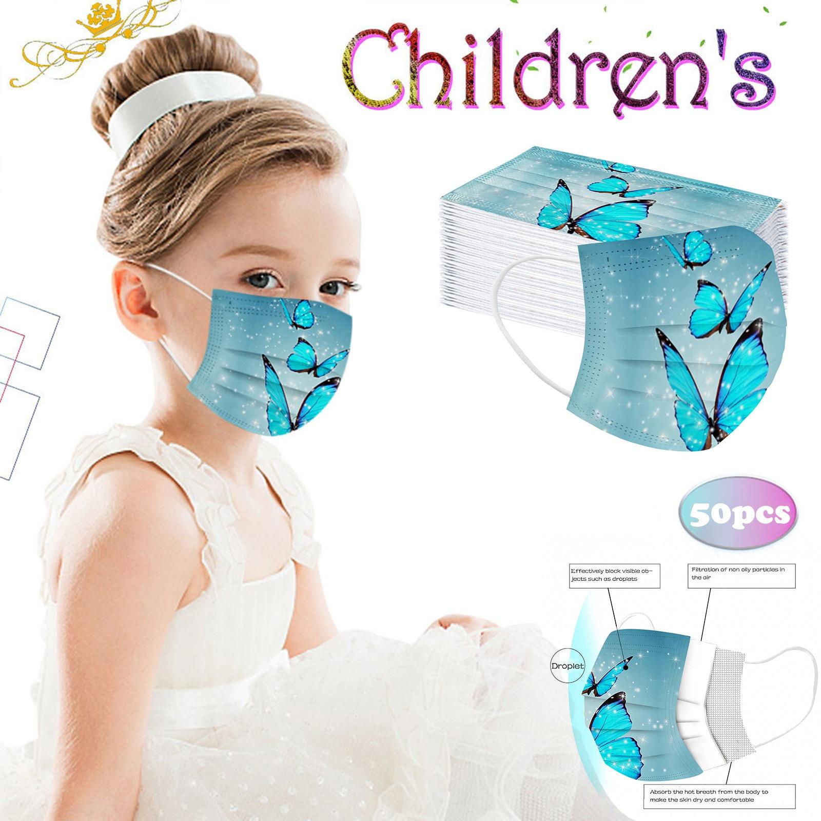 Mascarilla desechable con estampado de mariposa para niños, máscara de 3 capas,...