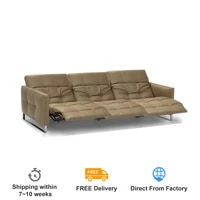 Canape-lit electrique inclinable  3 places  en cuir veritable  pour salon  cinema  livraison porte a porte  style nordique