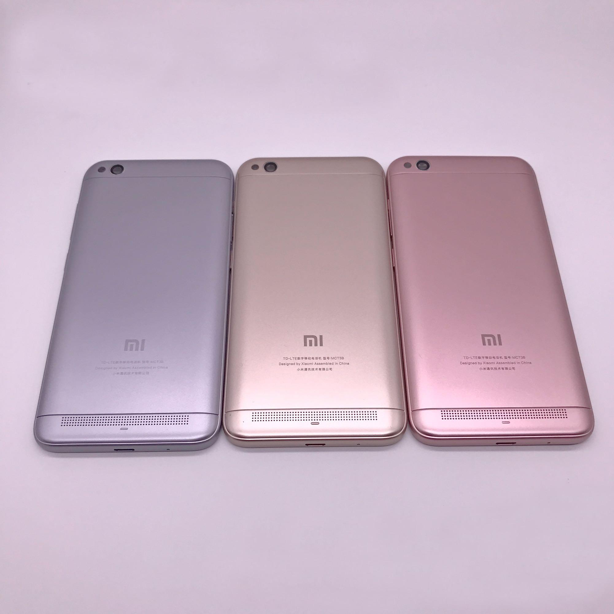 Оригинал для Xiaomi Redmi 5A задняя крышка корпуса батареи Redmi 5A задняя крышка + стекло для камеры + боковые кнопки запасные части