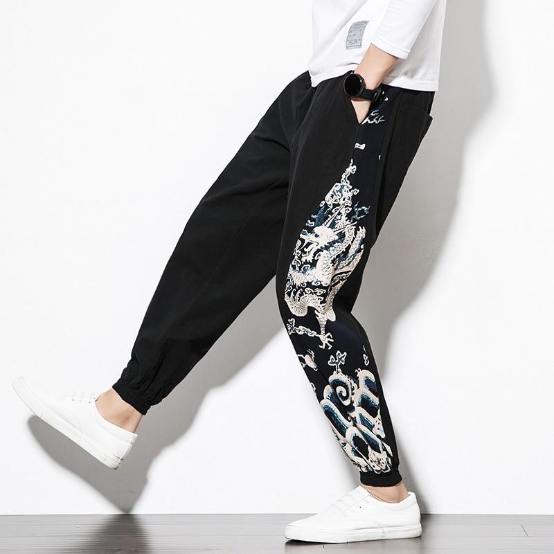 Cotton Linen Pants Men's Harlan Pants Loose Lantern Pants Streetwear Joggers Harem Trouser Fashion Mens Hip Hop Summer Casual