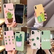 Plantes de luxe Cactus belle Cactus chariot valise Texture étui de téléphone pour iPhone 11 Pro Max X XS MAX 8 7 6S Plus
