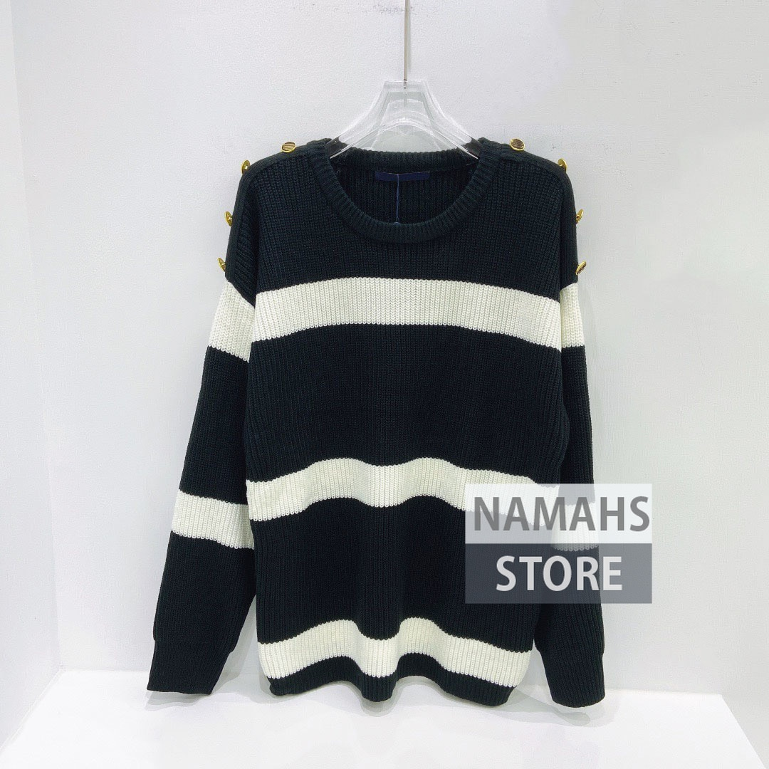 fall fashion black and white striped jacquard sweater jumper women buttons designer high quality jumpers woman sweaters pullover enlarge