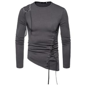 2019 Autumn New  Cotton T SHIRT Men, Long Sleeved irregular style Men's Tshirt High-Quality O-Neck Lovers T-shirt